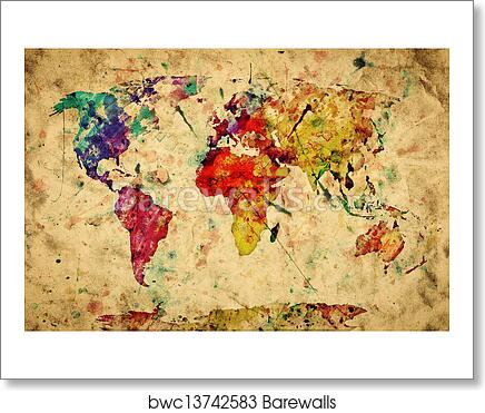 Art print of vintage world map colorful paint watercolor retro art print of vintage world map colorful paint watercolor retro style expression on grunge old paper gumiabroncs Gallery
