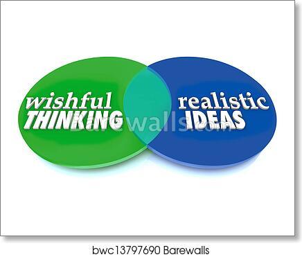 art print of wishful thinking realistic ideas venn diagram