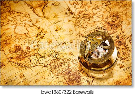 Vintage World Map Art.Art Print Of Vintage Compass Lies On An Ancient World Map