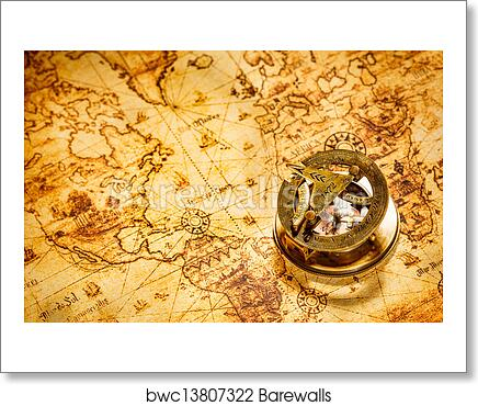 Vintage World Map Art.Art Print Of Vintage Compass Lies On An Ancient World Map