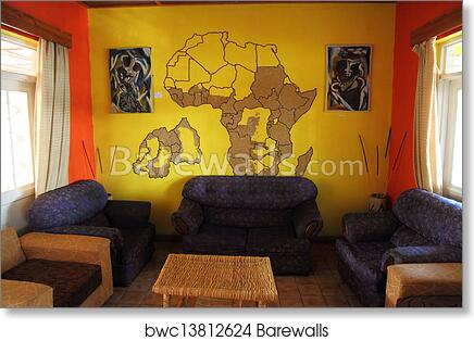 Art Print Of African Themed Living Room With Mural