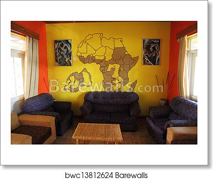 African Themed Living Room with Mural art print poster