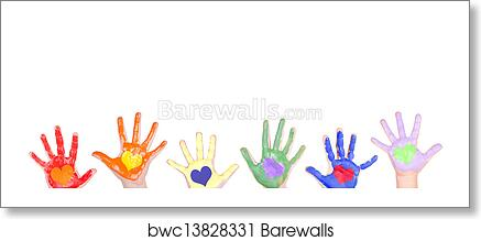 art print of painted hands for a border barewalls posters prints
