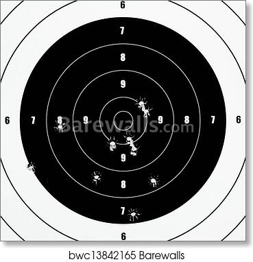 Art print of a closeup of a practice target used for shooting with bullet holes in it