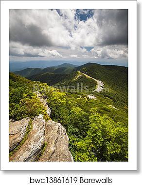 Blue Ridge Parkway Craggy Gardens Asheville Nc Craggy Pinnacle Travel Destination Curvy Mountain Road Scenic View Art Print Poster