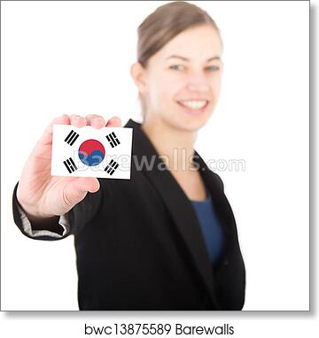 art print of business woman holding a card with the south korean