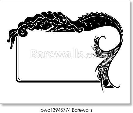 Art print of art nouveau mermaid silhouette frame
