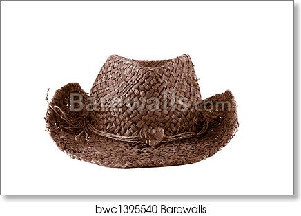 Art Print of Brown straw cowboy hat  d9d9cdda58f