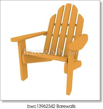Gentil Art Print Of 3d Render Of An Adirondack Chair