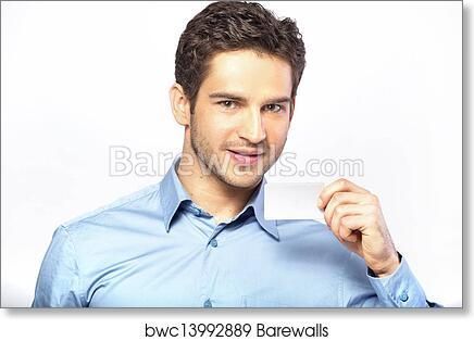 Art print of good looking man holding business card barewalls art print of good looking man holding business card colourmoves