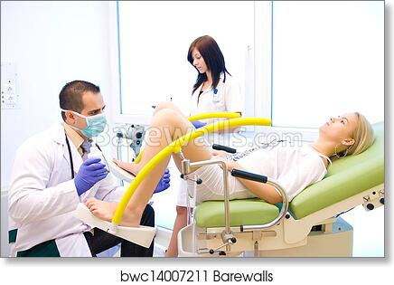 art print of a gynecological examination shooting a real doctor s
