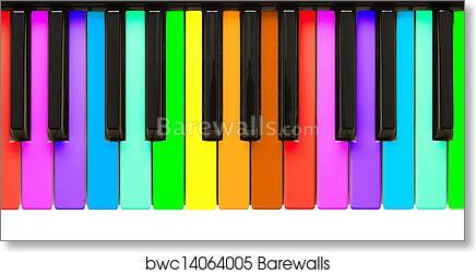Art Print Of Rainbow Piano Keys