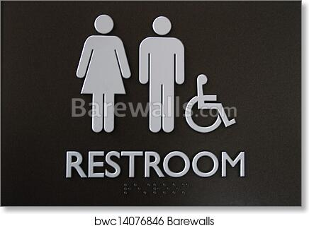 Art Print Of Handicap Unisex Restroom Sign Barewalls Posters - Handicap bathroom sign