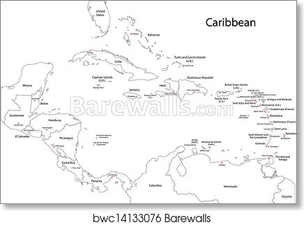 picture about Printable Map of the Caribbean named Determine Caribbean map artwork print poster