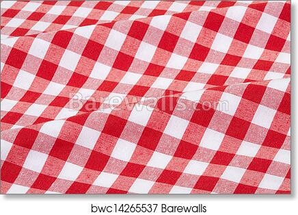 Art Print Of Red And White Tablecloth