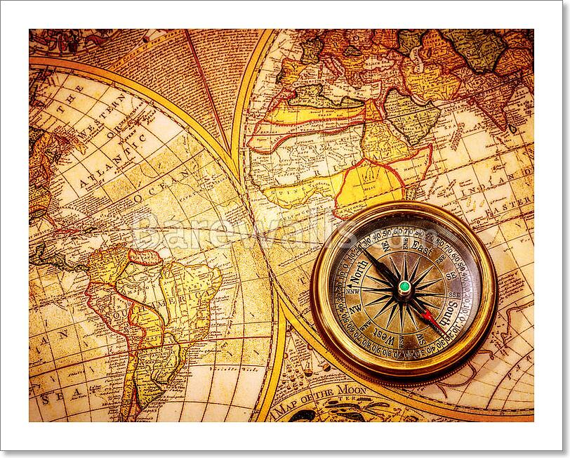 Vintage brjula se encuentra en un mapa del mundo antiguo ebay vintage compass lies on an ancient world map gumiabroncs Image collections