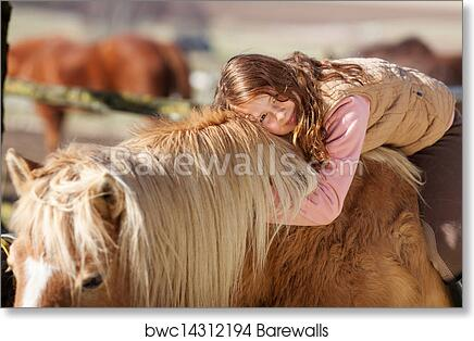 Framed Print Picture Poster Young Girl Laying on the Back of a White Stallion