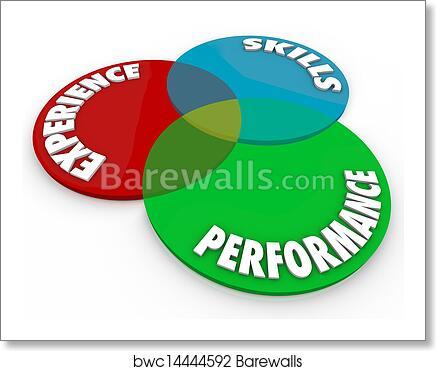 art print of experience skills performance venn diagram employee review