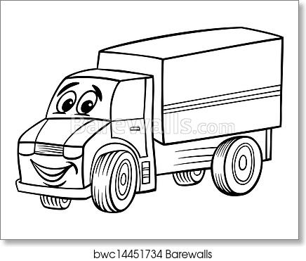 Funny truck cartoon for coloring book art print poster