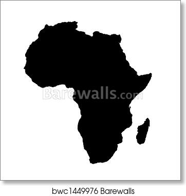 Art Print Of Outline Map Of Africa Continent In Black Barewalls - Africa outline map printable