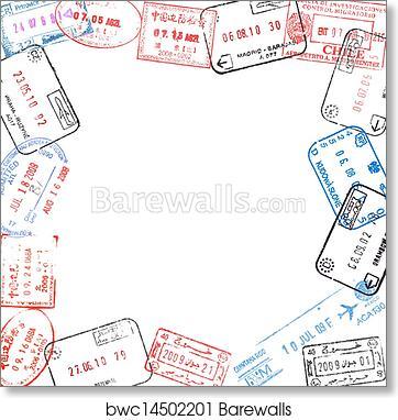 Art Print of Frame from passport visa stamps | Barewalls Posters ...