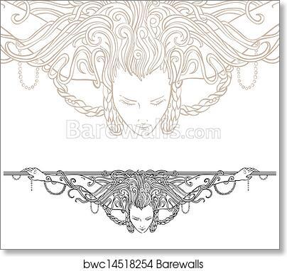 Art print of detailed art nouveau decorative divider