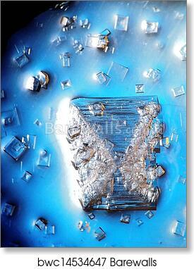 NaCl-KCl salt crystal art print poster