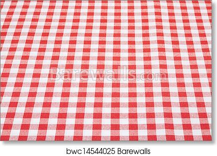 Art Print Of Gingham Tablecloth In Perspective