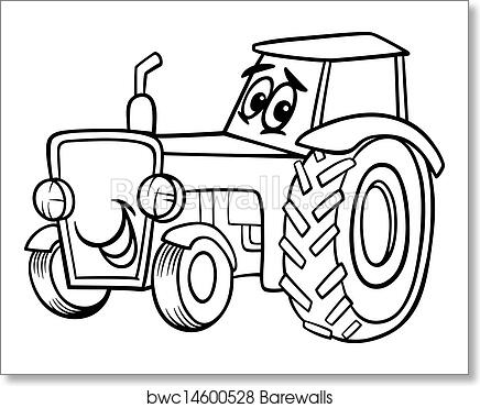 Tractor cartoon for coloring book art print poster