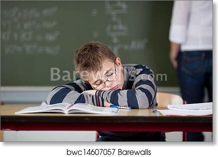Art Print Of Student Sleeping At Desk While Teacher Standing In