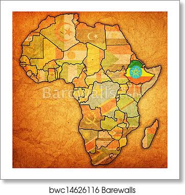 Art Print of Ethiopia on actual map of africa   Barewalls Posters ...