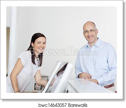 Happy Patient And Receptionist At Reception In Dentist's Clinic art print  poster