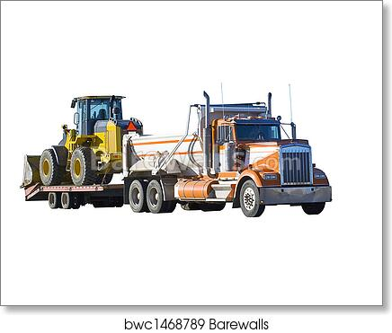 End Dump Truck >> End Dump Truck Pulling A Loader Art Print Poster