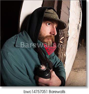 Art Print of Gangster with Spray Paint | Barewalls Posters & Prints ...