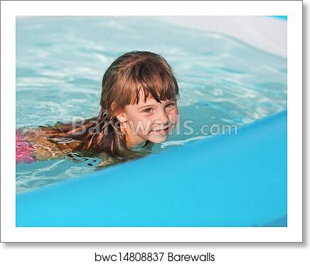 Little girl in swimming pool. art print poster
