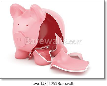 Empty broken piggy bank , Art Print   Barewalls Posters & Prints ...