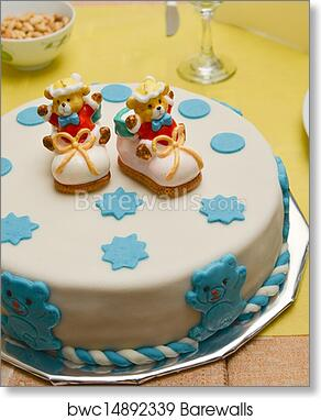 Awe Inspiring Baby Boy Birthday Cake With Cute Sh Art Print Barewalls Posters Funny Birthday Cards Online Alyptdamsfinfo