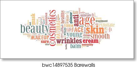 Cosmetics and makeup word cloud art print poster
