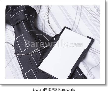 art print of card empty id badge on man suit barewalls posters