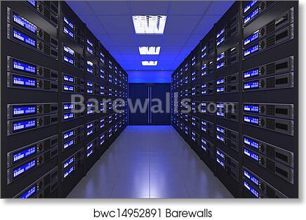 Art Print of 3d Modern interior of server room | Barewalls Posters ...