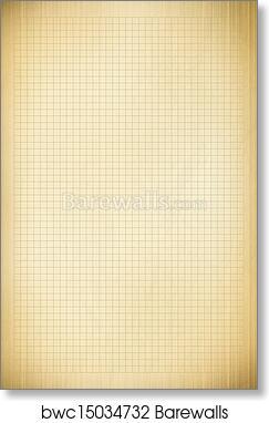 art print of blank millimeter old graph paper grid sheet background