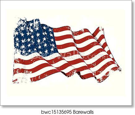 Us Flag Wwi Wwii 48 Stars Grunge Art Print Barewalls Posters Prints Bwc15135695