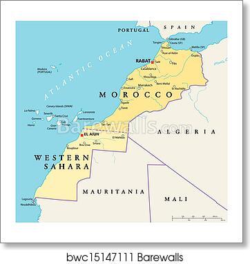 Morocco And Western Sahara Politica Art Print Poster