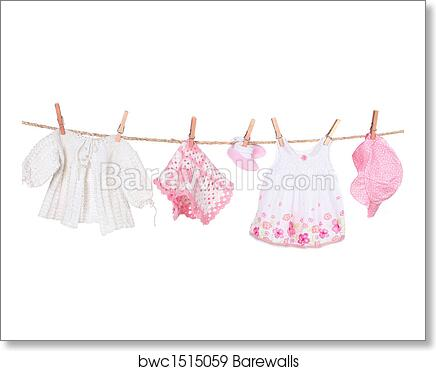 9fac011b6 Baby Girl Clothing Hanging on a Clothesline, Art Print | Barewalls ...