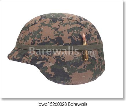 look out for really comfortable best selling Us marines kevlar helmet with camouflage cover with ammo amulet art print  poster