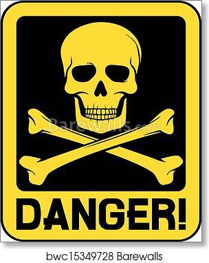 Poster Danger Do Not Enter Skull