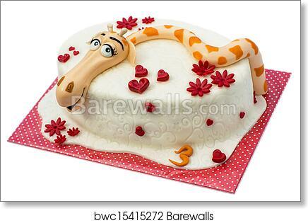 Art Print Of Birthday Cake On White Background