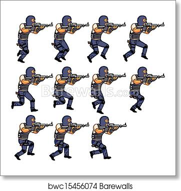 Art Print of SWAT officer running animation | Barewalls Posters ...