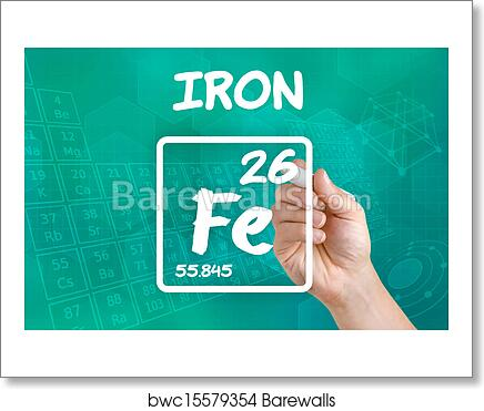 Art Print Of Symbol For The Chemical Element Iron Barewalls