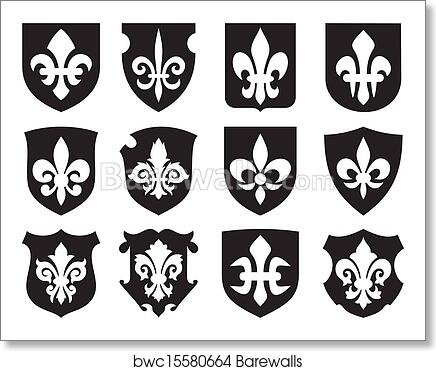 Art Print Of Lily Flower And Medieval Shields Barewalls Posters